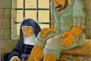 Louise washing feet of prisoner